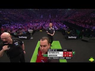 Kim Huybrechts vs Gary Anderson (2017 Premier League Darts / Week 8)