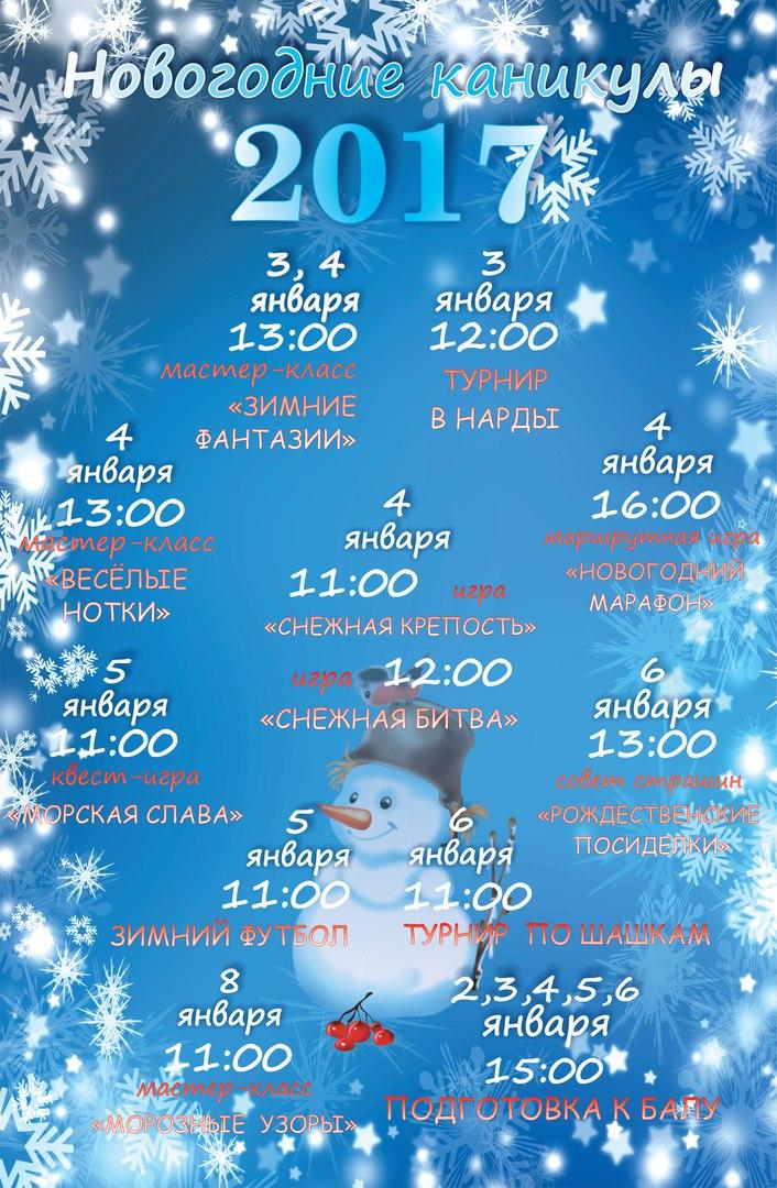 Программа новогодних каникул!