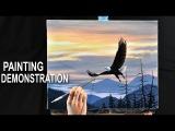 LANDSCAPE PAINTING DEMO  How to paint a sunset
