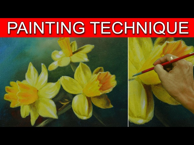 How to Paint Daffodil Flowers in Easy Step by Step Acrylic Full Painting Tutorial by JM Lisondra