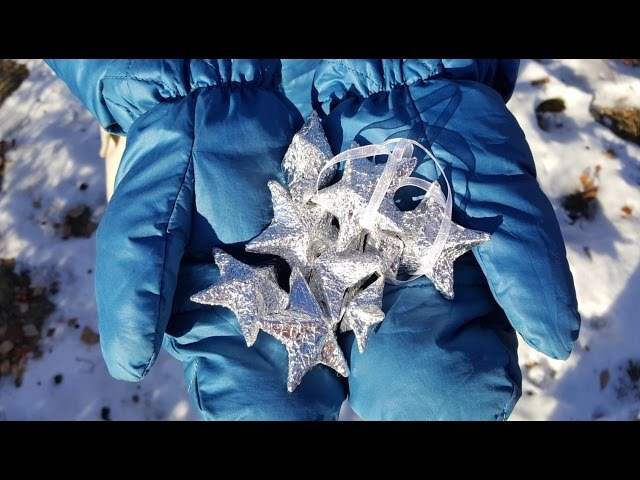 SHINY 3D STAR out of recycled cardstock aluminum foil / Объемная звезда