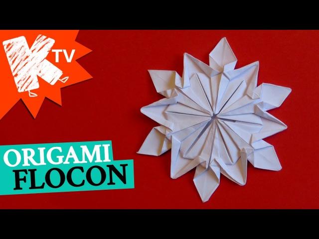 Flocon en papier Origami diy déco Noël