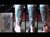 Перекрытие партака, татуировка за 4 сеанса.