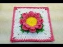 Learn How To Crochet Perfectly Pink Flower 6 Granny Square TUTORIAL 377 supersaver