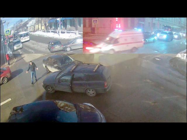 ДТП в Серпухове. Две аварии на жёлтый и Скорая на красный... 16 марта 2018г.