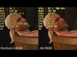 Intel Pentium G4560 HD 610 vs. AMD A8-9600 R7 iGPU in 15 Games.