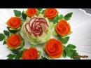 Attractive Garnish of Radish Carrot Rose Flowers with Onion Cilantro Designs