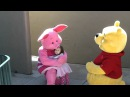 Emme meeting Piglet and Winnie the Pooh