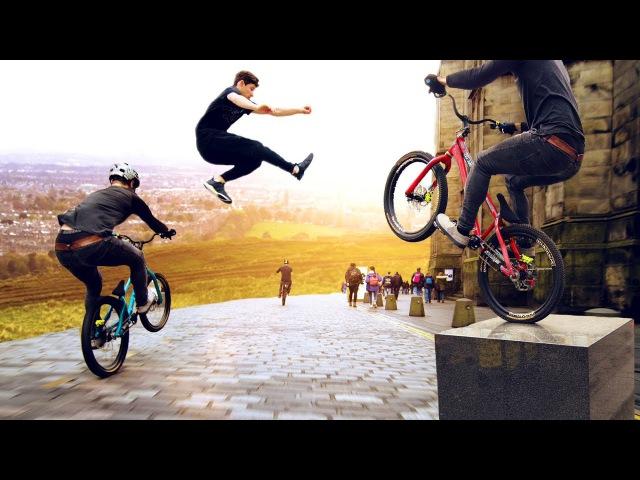 Bike vs Parkour Race through Edinburgh Scotland! 8K!