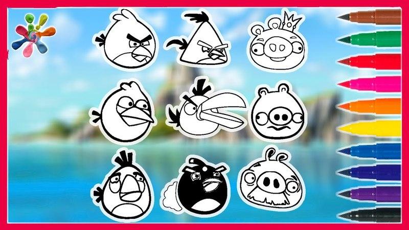 Рисуем Энгри Бердз. мультик .Злые птицы: Draw Angry Birds.Раскраски для детей.