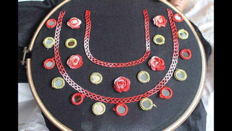 Hand Embroidery | Mirror neck design for dresses