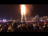 В Южно-Сахалинске сгорела елка