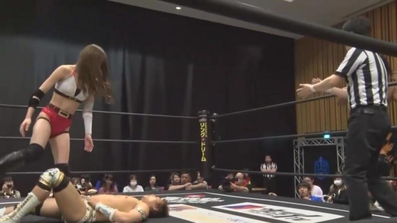 Masahiro Takanashi, Yukio Sakaguchi, Saki Akai vs. Kazuki Hirata, Toru Owashi, Priscilla Kelly (DDT - Sunday Kasukabian! 2018)