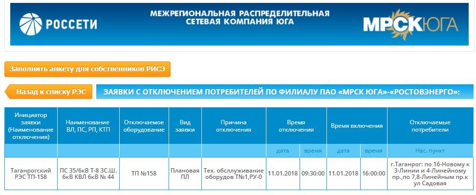 В Таганроге в нескольких домах в СЖМ на 6 с половиной часов отключат электричество