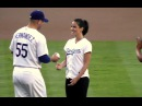 Olivia Munn Throws First Pitch at Dodger Stadium - Actress from HBO's The Newsroom & Fox's New Girl