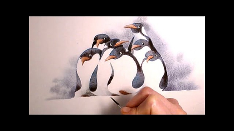 Simple Watercolor Illustration penguins painting Art by Iraville