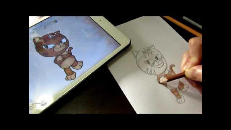 How to draw Pororo Myao for kids Как нарисовать Myao мультфильм Пороро для детей