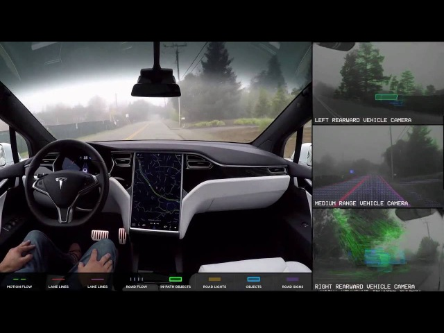 Tesla Autopilot 2.0 Full Self Driving Hardware - Neighborhood Long (Slowed Down 4x)