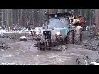 Трактор МТЗ прёт по болоте как танк MTZ rushing on the swamp like a tank