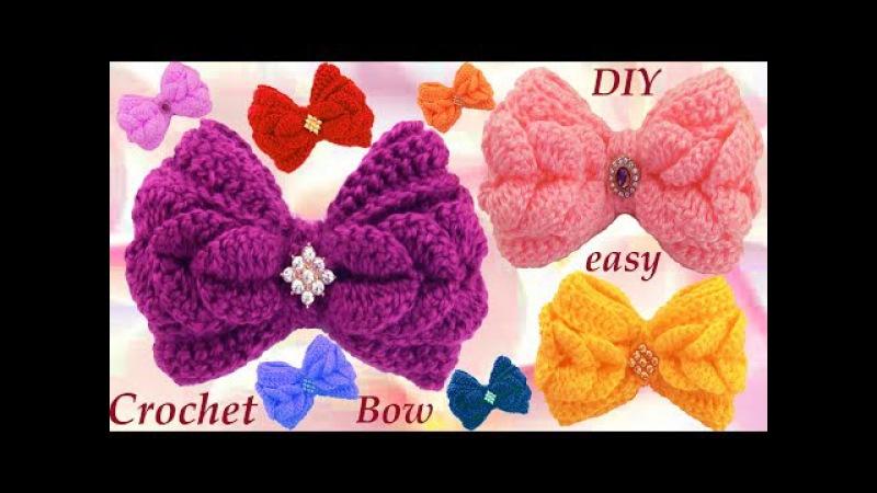 Como tejer con Ganchillo Crochet fácil lazos en punto de pétalos de flores