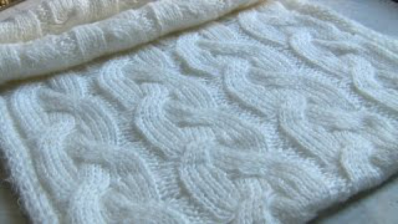 Вязаный шарф-снуд с косами. Снуд спицами в 2 оборота. Вязаные шарфы-снуды спицами