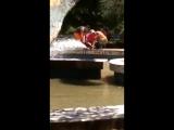 Алушта. В Приморском парке в неубранный фонтан Кит залили грязную воду