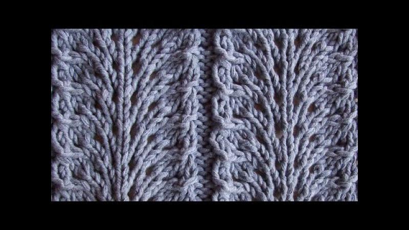 Ажурный узор Павлиный хвост Вязание спицами Видеоуроки