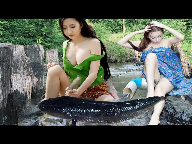 Wow! Amazing Girl Use PVC Pipe Fish Trap Catch A Lot Of Fish At Rice Field