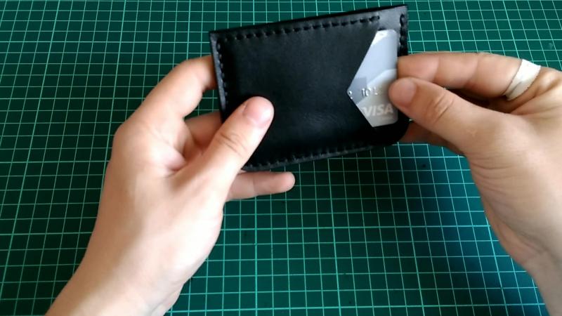 Deep Black Pocket Cardholder by ALMA leathercraft