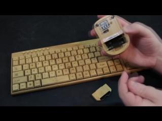 Бамбуковая клавиатура и мышь из натурального бамбука