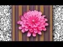 DIY Цветок хризантемы из атласной ленты, МК English subs