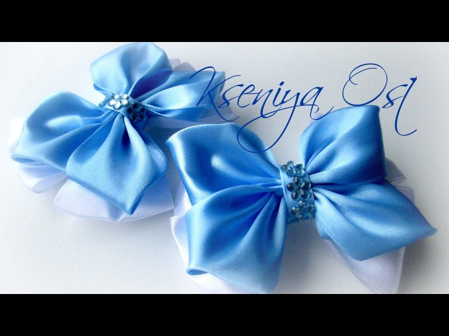 Простые канзашки Голубые бантики из атласных лент