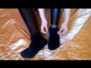 Sexy Foot Tease in Black Socks, Shiny Black Wet Look Leggings and Tights_Pantyho