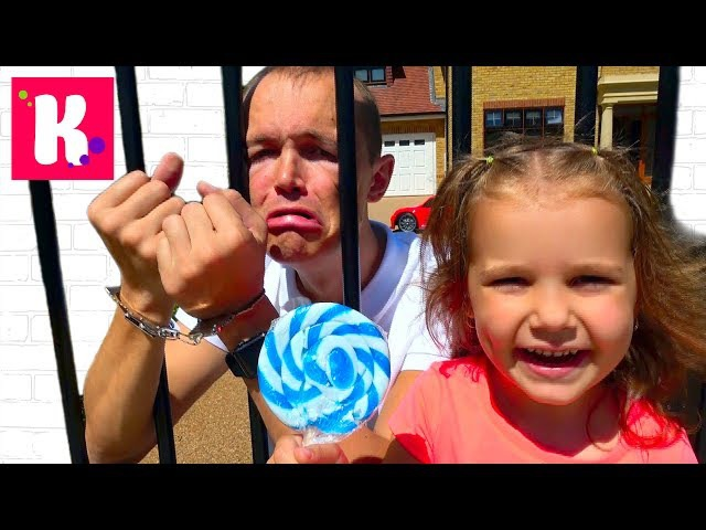 BAD KIDS VS DADDY Украли КОНФЕТЫ STEALS A LOT of Candy GO TO JAIL Family Fun Crying baby Rhymes