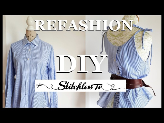 DIY Refashion men's shirt into a strappy camisole top