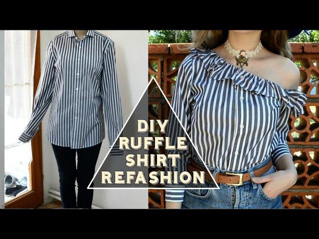 DIY Ruffle One Shoulder Shirt DIY volánová košeľa SK EN sub