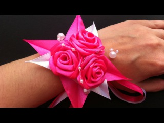 Браслет Канзаши / Розовые розочки / Pulsera De Kanzashi / Kanzashi Bracelet