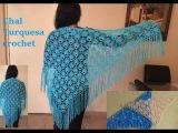 chal a crochet turquesa