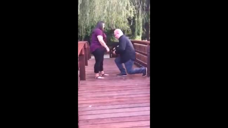 Engagement Ring Falls Into Pond Below During Proposal