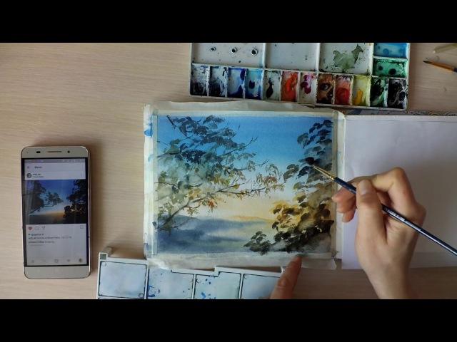 Как рисовать листву деревьев акварелью.