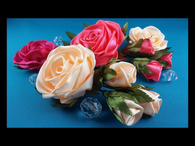 Rose of whole ribbon.Tutorial Rose de una cinta entera.CM Роза из цельной ленты.MK