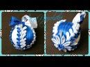 Новорічна кулька канзаши Морозні візерунки Новогодний шарик Морозные узоры своими руками