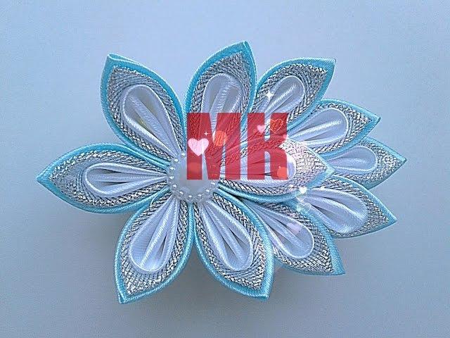 Простое украшение канзаши на заколку или ободок своими руками мастер класс/ Новогоднее украшение МК