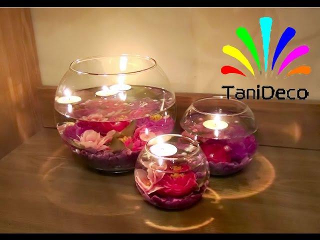 Композиция со свечами в круглых вазах. Composition with candles in round vases.