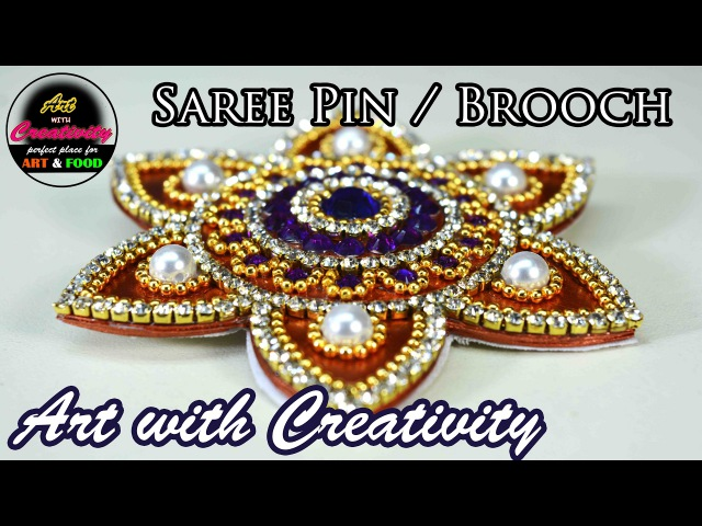 Saree pin Brooch Made out of paper Art with Creativity 151