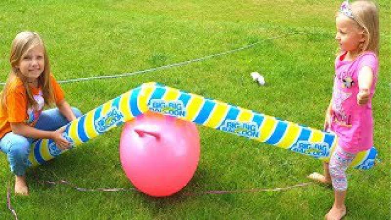 Челлендж Надуваем ШАРЫ ВЕСЕЛЯЩИМ ГАЗОМ / Самый длинный шар в МИРЕ / Что будет если ... Playground