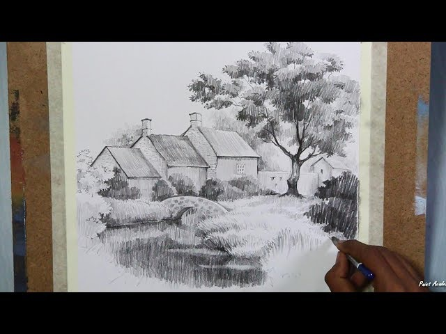 Learn Pencil Drawing : House Landscape   step by step drawing sketching