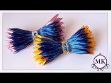 Заколка-автомат из узкой ленты. Бант. Канзаши. МК. / DIY. Ribbon bows. Wings. Hairclip. Kanzashi.