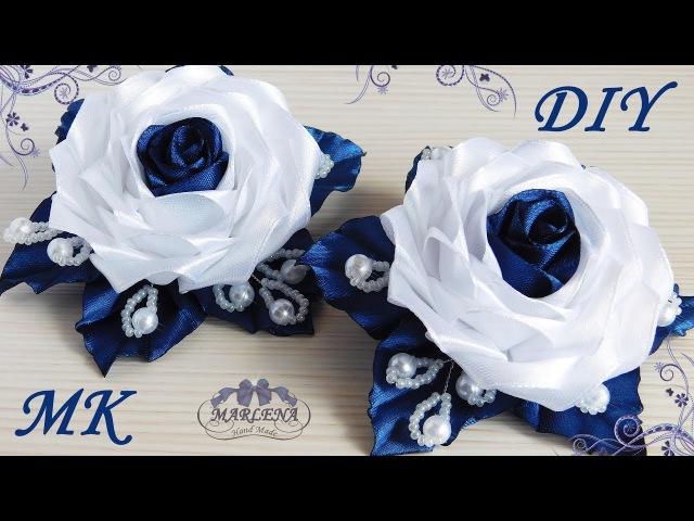 Роза канзаши 🌹. Нарядные школьные резиночки. МК/DIY 👐