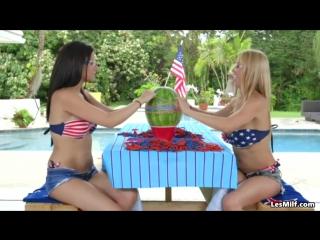 Lesbian housewife watermelon challange _ lesbian kiss